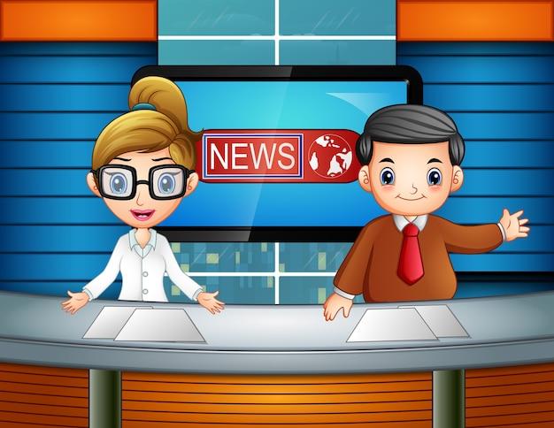 Nachrichtensprecher im fernsehen Premium Vektoren