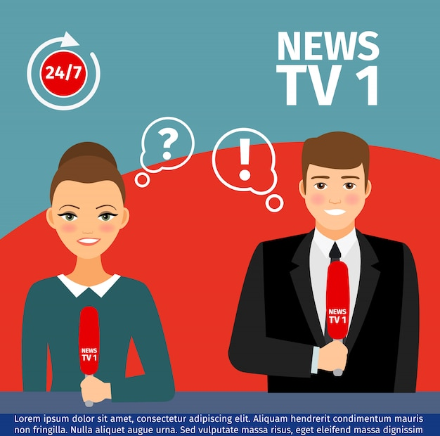 Nachrichtensprecher mann und frau Premium Vektoren