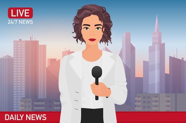Nachrichtensprecherin berichtet über aktuelle nachrichten. nachrichtenillustration. medien im fernsehen konzept. Premium Vektoren