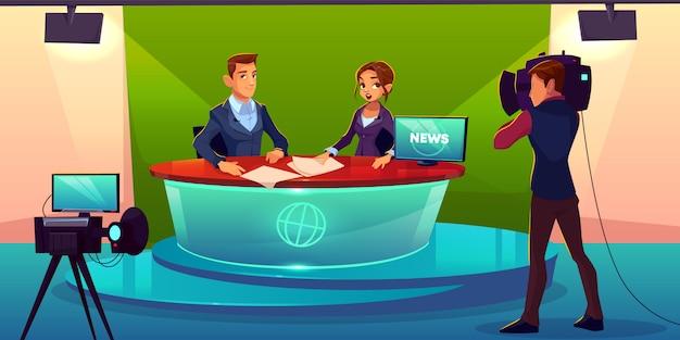 Nachrichtensprecherteam live-übertragung cartoon. Kostenlosen Vektoren