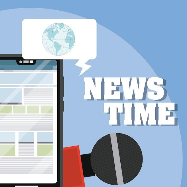 Nachrichtenzeit online Premium Vektoren