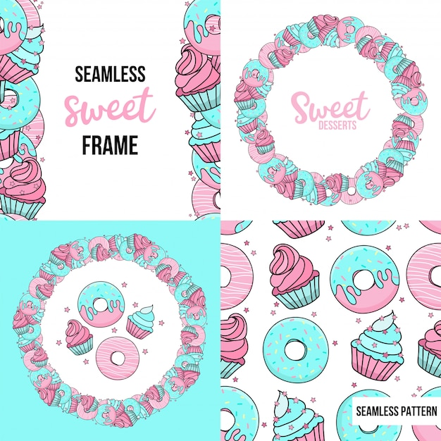Nachspeisen. nahtloses muster und rahmen mit süßen nachtischen. blaue und rosa donuts, muffins, konfetti. Premium Vektoren