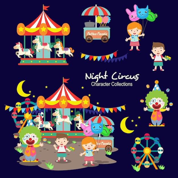 Nacht circus character sammlungen Premium Vektoren