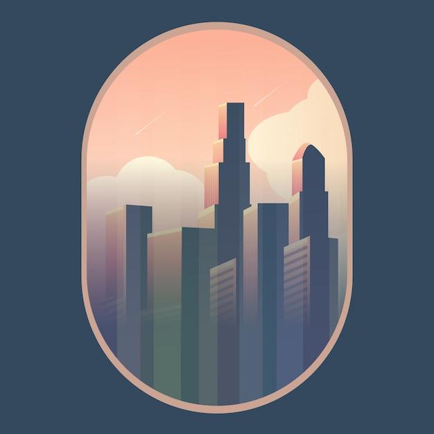 Nacht stadtlandschaft. der städtischen szene in der nacht. Premium Vektoren