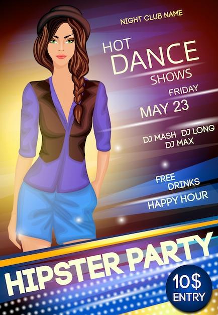 Nachtclub hipster party plakat vorlage Kostenlosen Vektoren