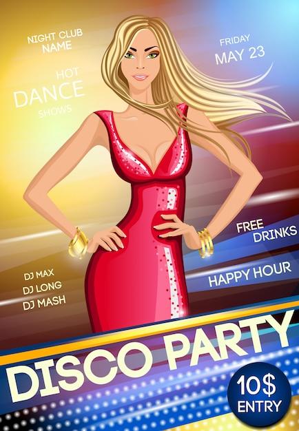Nachtclub party plakat vorlage Premium Vektoren