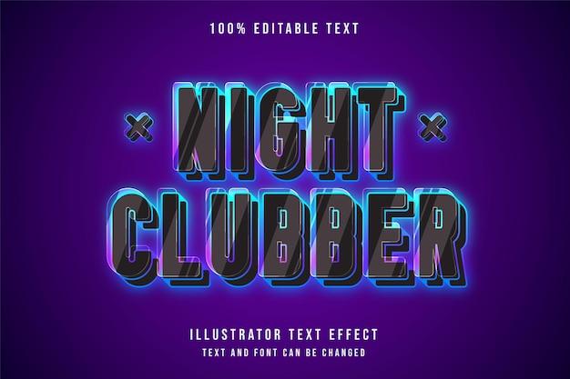 Nachtclubber, 3d bearbeitbarer texteffekt blaue abstufung rosa neonstil Premium Vektoren