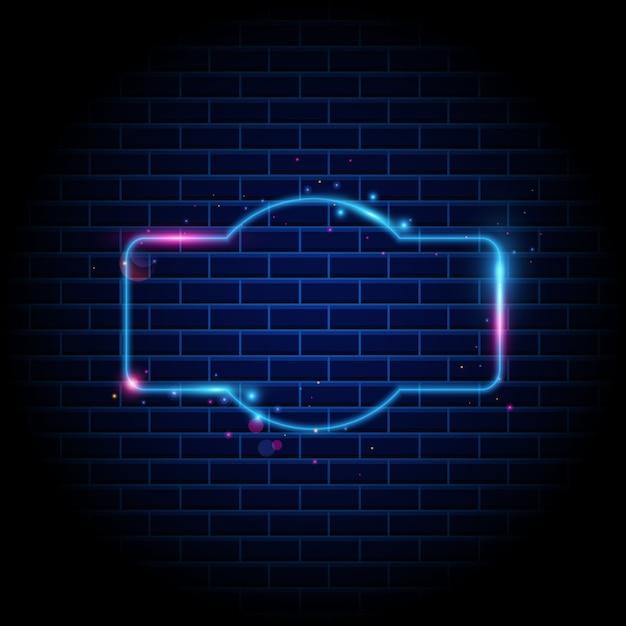 Nachtclubleuchtreklame auf backsteinmauerhintergrund Premium Vektoren