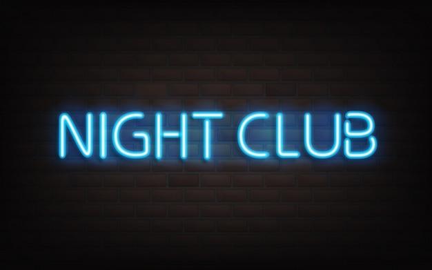 Nachtclubneonbeschriftung auf dunklem backsteinmauerhintergrund. Kostenlosen Vektoren