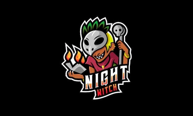 Nachthexe esports logo Premium Vektoren
