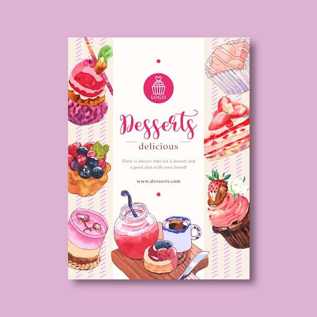 Nachtischplakatdesign mit mousses, kleiner kuchen, törtchen, shortcake, stauaquarellillustration. Kostenlosen Vektoren