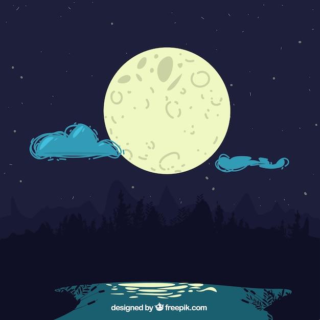 Nachtlandschaft hintergrund mit mond und wolken Kostenlosen Vektoren