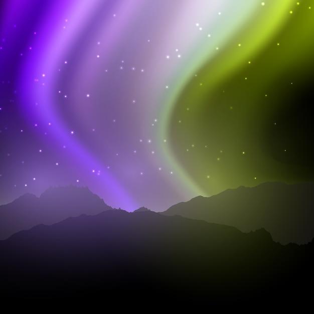 Nachtlandschaft mit himmel der nordlichter Kostenlosen Vektoren