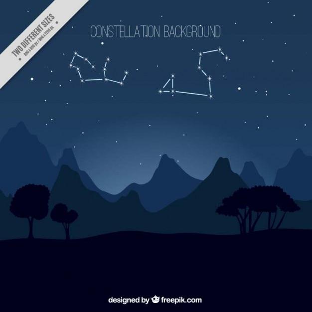 Nachtlandschaft mit konstellationen hintergrund Kostenlosen Vektoren