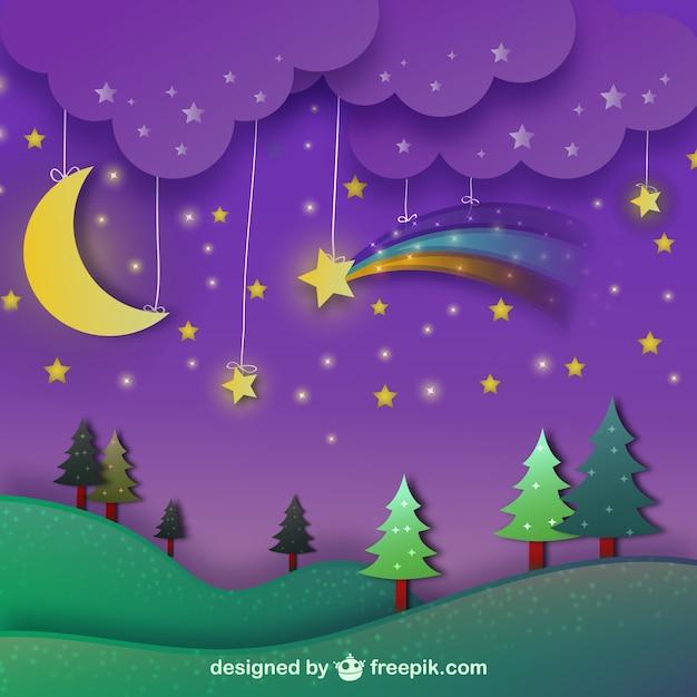 Nachtlandschaft mit lila himmel Kostenlosen Vektoren