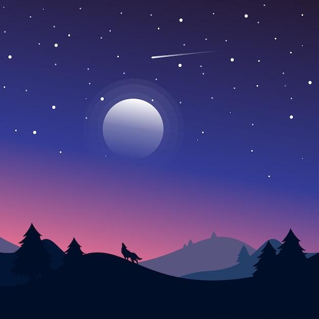 Nachtlandschaft mit schattenbildern der hügel, des wolfs, des waldes und des schönen nächtlichen himmels mit sternen und dem mond. Premium Vektoren
