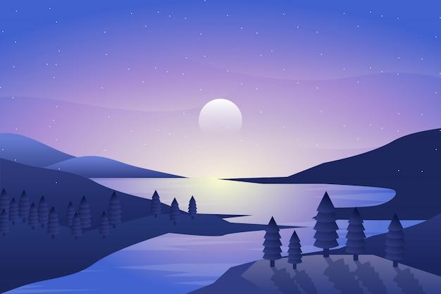 Nachtlandschaft mit see- und himmelillustration Premium Vektoren