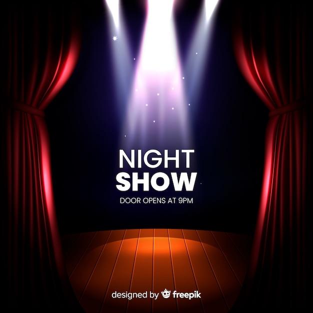 Nachtshow mit offenen türen und scheinwerfern Kostenlosen Vektoren