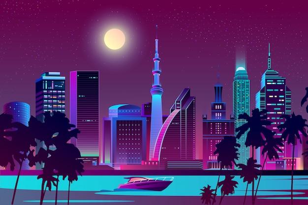 Nachtstadt am fluss, tropische megapolis Kostenlosen Vektoren