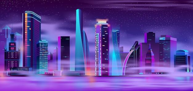 Nachtstadt im städtischen hintergrund des nebels Kostenlosen Vektoren