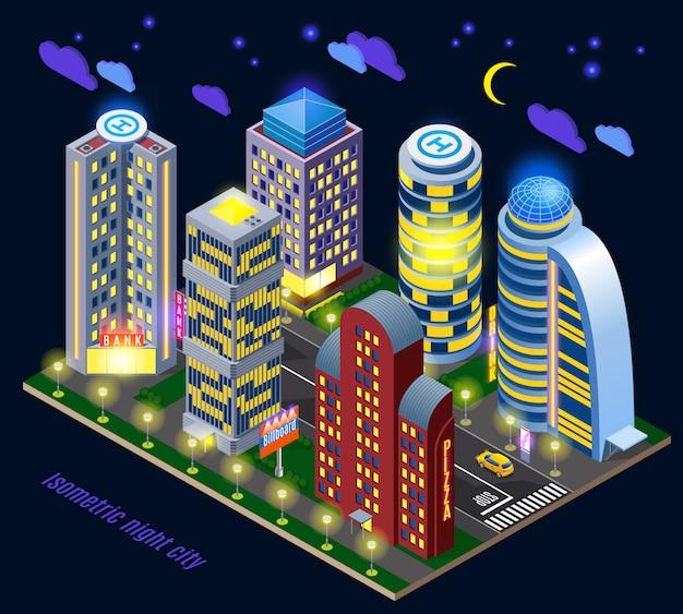 Nachtstadt mit beleuchteten hohen gebäuden und straße Kostenlosen Vektoren