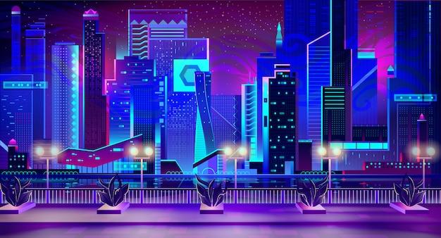 Nachtstadt mit neonlichtern und kai mit anlagen Kostenlosen Vektoren