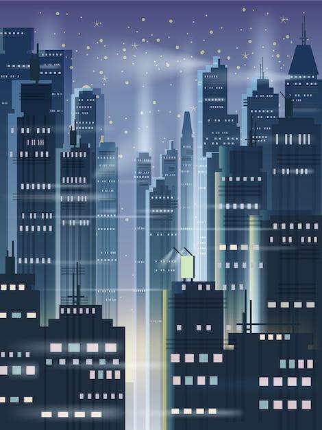 Nachtstadt, stadtszene, wolkenkratzer, türme, sternenhimmel, lichter, horizont, perspektive Premium Vektoren