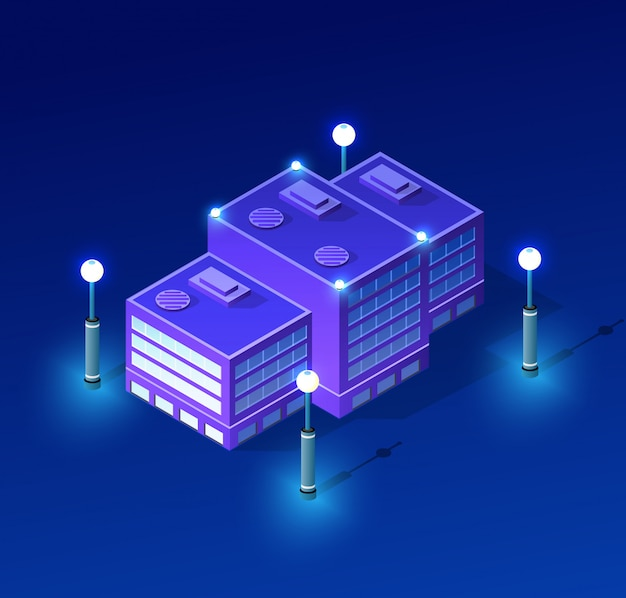 Nachtstadtbild ultraviolett Premium Vektoren