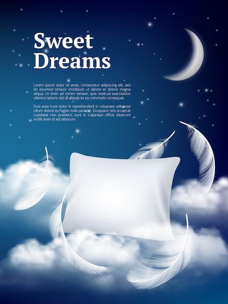 Nachttraumkissen. werbeplakat mit kissenwolken und federn bequemer raum realistisches konzept Premium Vektoren