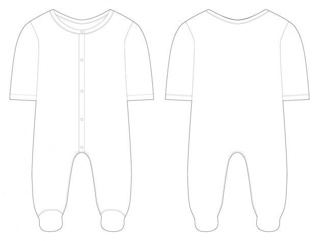 Nachtwäsche für babys und mädchen. technische zeichnung. Premium Vektoren