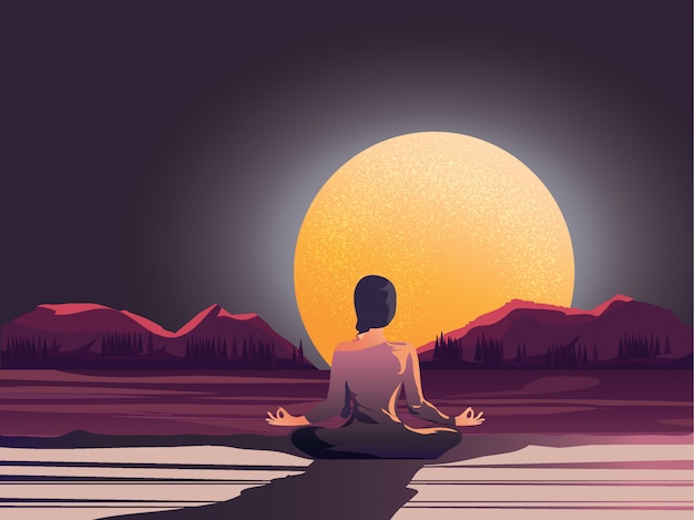 Nachtzeitmeditation durch die natur Premium Vektoren