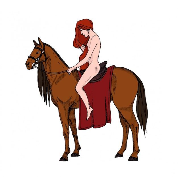 Pferd den nackt auf Nackt auf