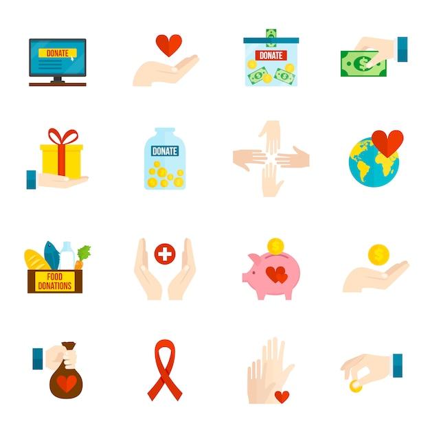 Nächstenliebe icons flat set Kostenlosen Vektoren