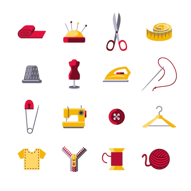 Nähende icons set Kostenlosen Vektoren