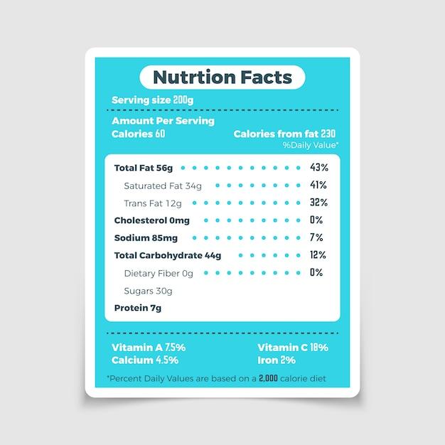 Nährwertkennzeichnung für lebensmittelzutaten und vitamine. nahrungstatsachen und bestandteilkalorienmengen-illustrationsvektor Premium Vektoren