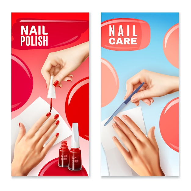 Nagelpflege polnisch banner set Kostenlosen Vektoren