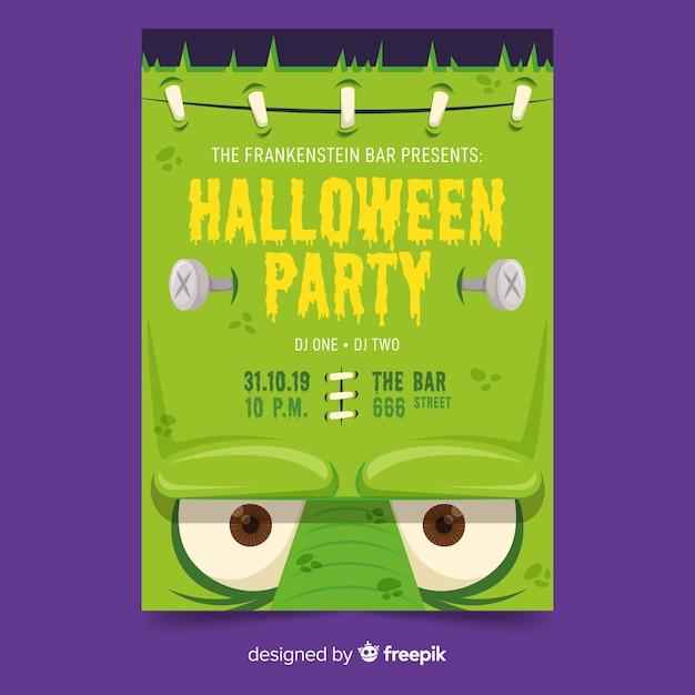 Nahaufnahme frankenstein gesicht halloween party plakat vorlage Kostenlosen Vektoren