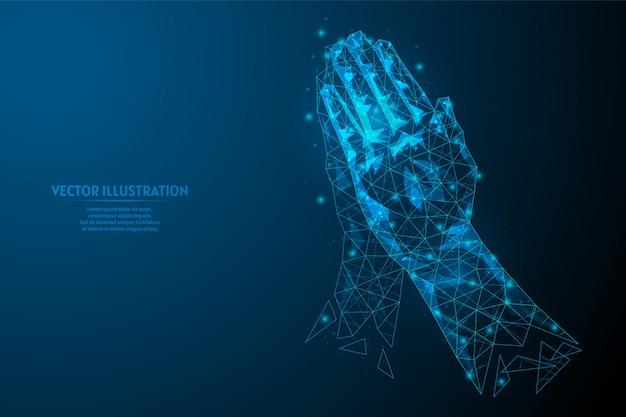 Nahaufnahme hände eines mannes drückten handfläche aneinander. gebetshaltung. konzept von religion, glauben, yoga, hilfe. begrüßung mit einer geste der namaste. Premium Vektoren