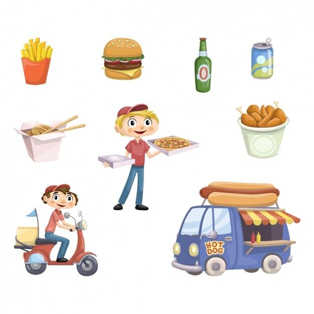 Nahrungsmittel-lkw-elemente-sammlung Kostenlosen Vektoren