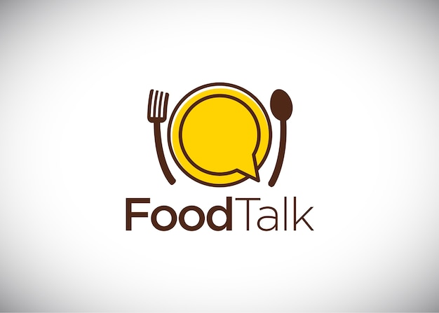 Nahrungsmittelgesprächslogo, vektor logo template Premium Vektoren