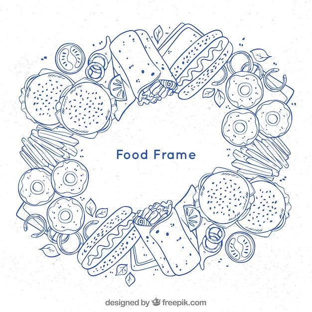 Nahrungsmittelrahmen mit hand gezeichneter art Kostenlosen Vektoren