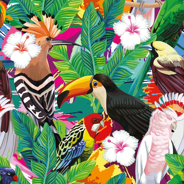 Nahtlos eine zusammensetzung des tropischen vogeltukans, des papageien, des wiedehopfs und der palmblätter Premium Vektoren