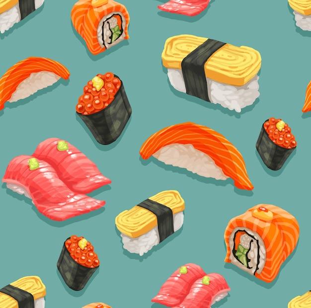 Nahtlos von sushi und von japanischem lebensmittelmuster. Premium Vektoren