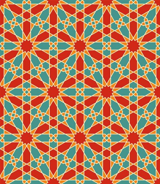 Nahtlose arabische geometrische verzierung in der farbe. jeder formtyp kann bearbeitet werden. Premium Vektoren
