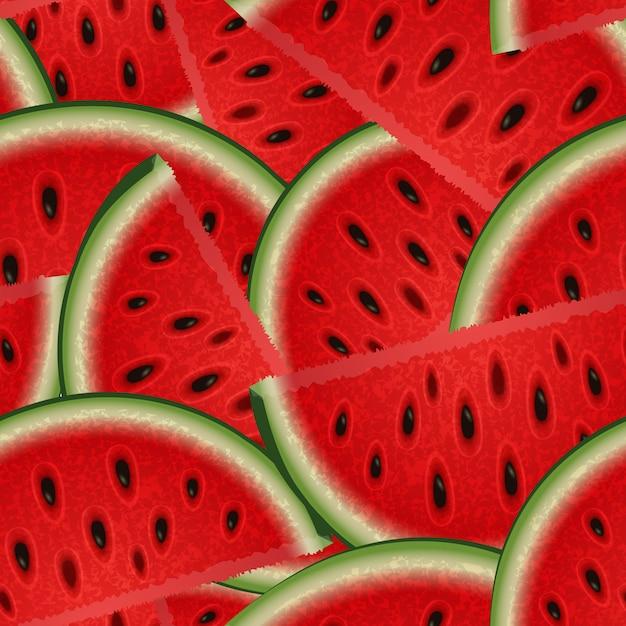 Nahtlose beschaffenheit des sommers von wassermelonenscheiben für ihre kreativität Premium Vektoren