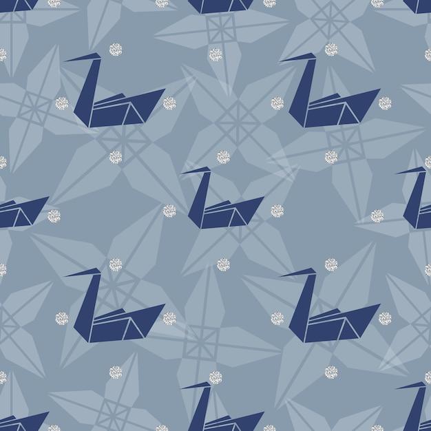 Nahtlose blauen origami vogel mit silber punkt glitter muster hintergrund Premium Vektoren