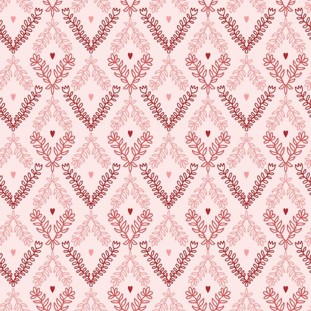 Nahtlose blümchenmuster. tapezieren sie mit blume und herzen in den rosa und roten farben. Premium Vektoren