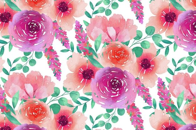 Nahtlose blumenmusterschablone des rosa andvioletten aquarells Kostenlosen Vektoren