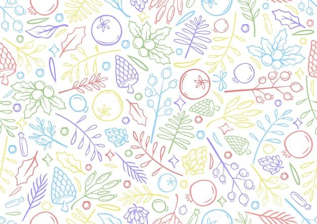 Nahtlose bunte linie handzeichnung weihnachtshintergrund weihnachtszeit illustration grußkarten vorlage mit blumen und blütenblättern in weißem hintergrund Premium Vektoren