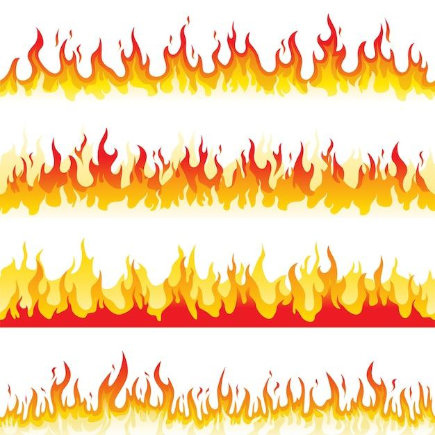 Nahtlose feuerflamme Premium Vektoren